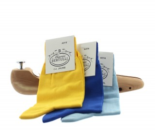 1 PACK OF 3 LISLE COTTON SOCKS - YELLOW/BLUE/BLUE SKY