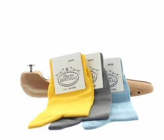 1 PACK OF 3 LISLE COTTON SOCKS - YELLOW/LIGHT GREY/SKY BLUE