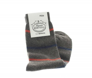 BROWN WOOL/CACHEMIRE STRIPED SOCKS
