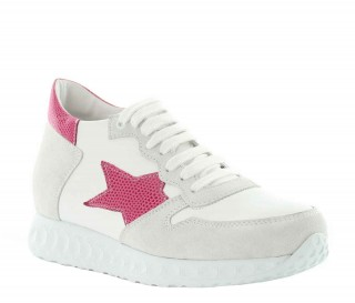 Frauen Erhöhungssneaker Aria - Weiss/Rosa +7cm