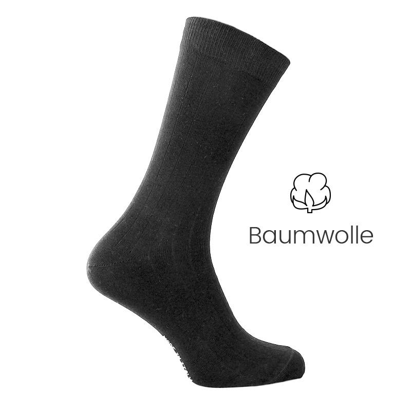 Vorderansicht  Elastische Socken aus Baumwolle in Schwarz | Herrenschuhe – Mario Bertulli
