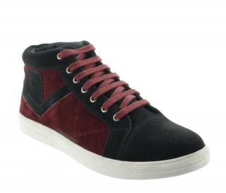 Vorderansicht  Sneaker Schwarz/Bordeaux | +5.5cm mehr Körpergröße | Herrenschuhe – Mario Bertulli