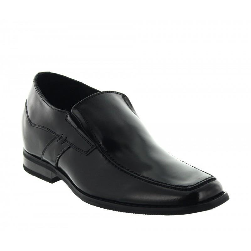 Vorderansicht der Schuhe Slipper Dover in Schwarz | +6cm mehr Körpergröße