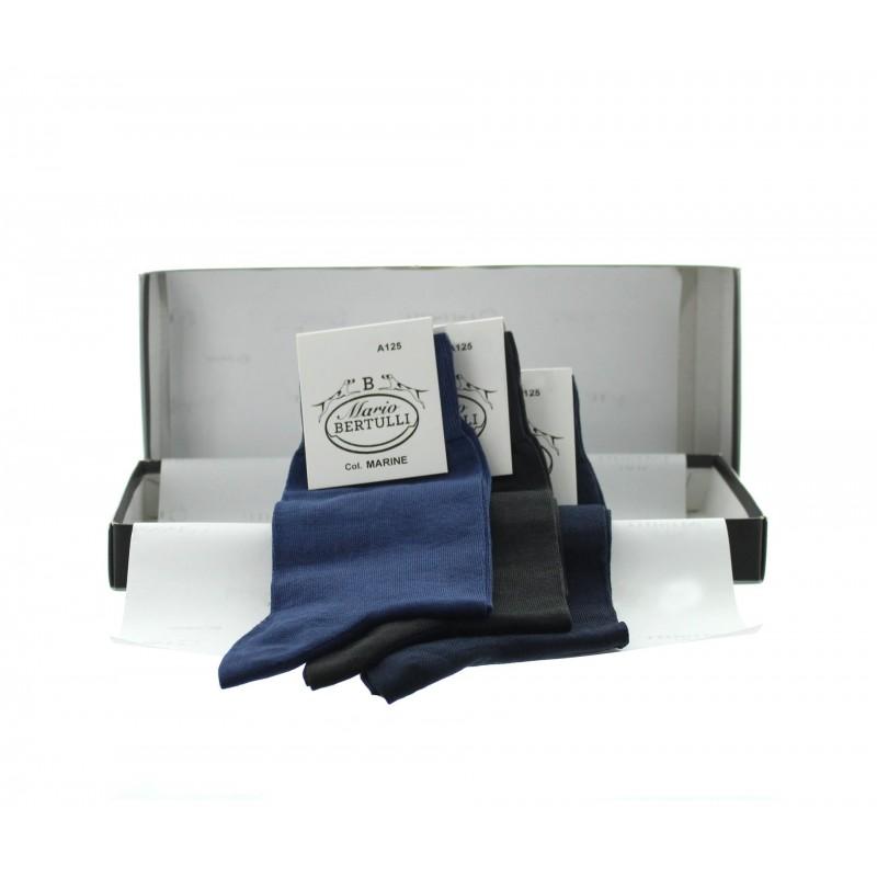 Vorderansicht  Box mit 3 Paar Socken - Marineblau/Anthrazit/Dunkelblau | Herrenschuhe – Mario Bertulli