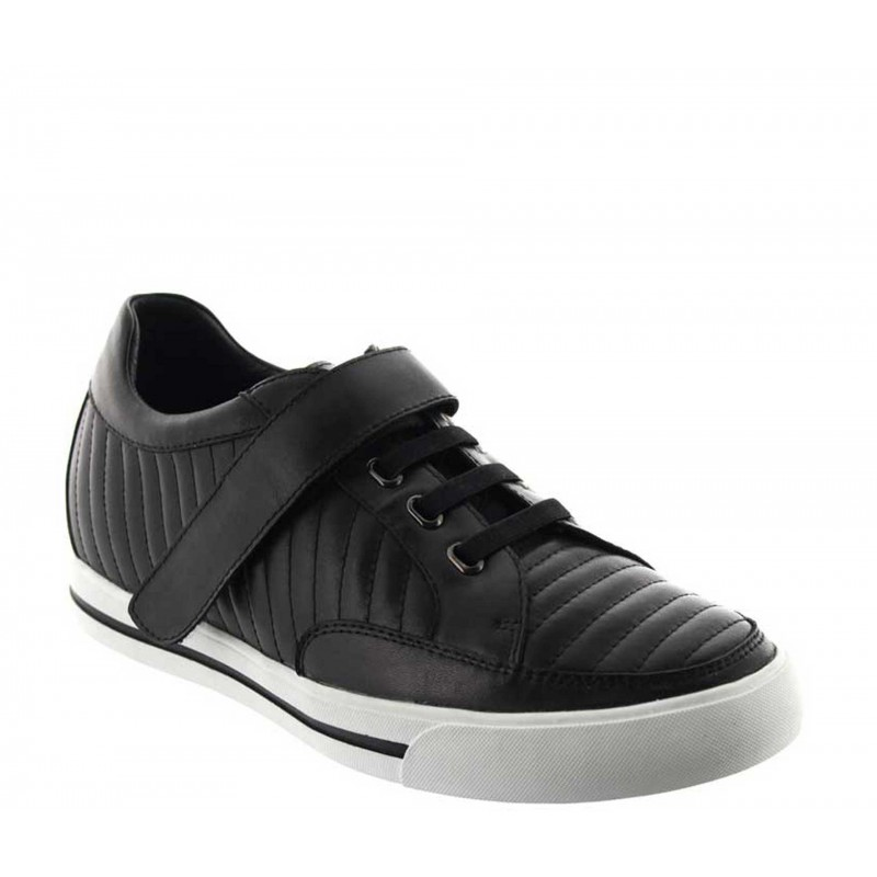 Height Increasing Sneakers Men - Black - Leather - +2.4'' / +6 CM - Toirano - Mario Bertulli