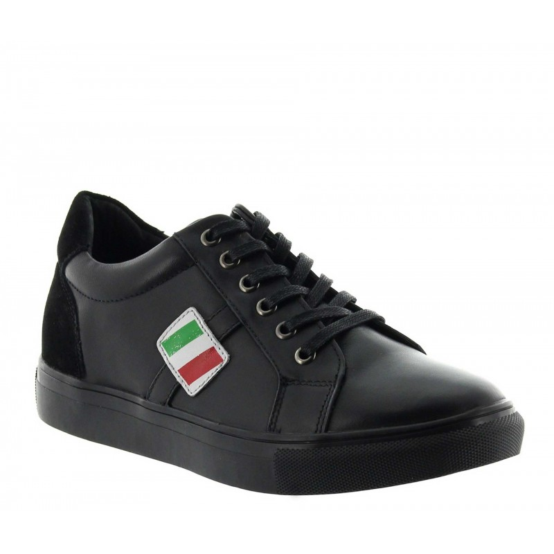 Height Increasing Sports Shoes Men - Black - Leather - +2.0'' / +5 CM - Rocchetta - Mario Bertulli