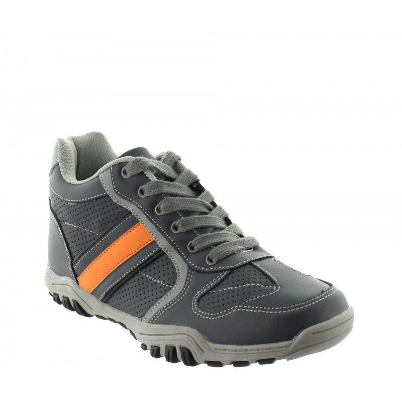 Height Increasing Sports Shoes Men - Grey - Leather - +2.4'' / +6 CM - Crotone - Mario Bertulli