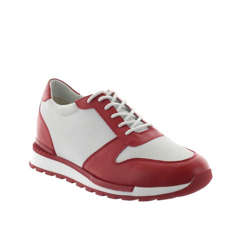 Height Increasing Sneakers Men - Red - Leather/mesh - +2.8'' / +7 CM - Sirmione - Mario Bertulli