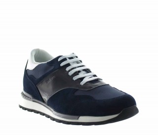 Height Increasing Sports Shoes Men - Blue - Leather / Fabric - +2.6'' / +6,5 CM - Acquaro - Mario Bertulli