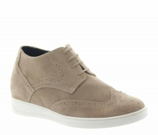Height Increasing Derby Shoes Men - Beige - Nubuk - +2.6'' / +6,5 CM - Marzini - Mario Bertulli