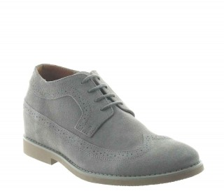 Height Increasing Derby Shoes Men - Gray - Nubuk - +2.8'' / +7 CM - Deliceto - Mario Bertulli