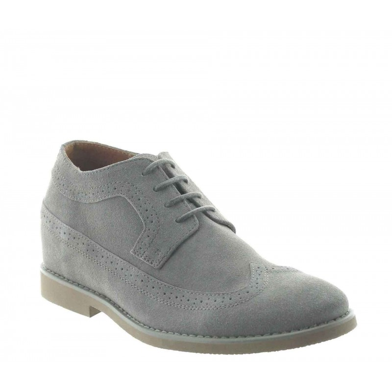 Height Increasing Derby Shoes Men - Grey - Nubuk - +2.8'' / +7 CM - Deliceto - Mario Bertulli