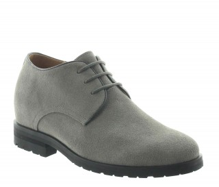 Height Increasing Derby Shoes Men - Grey - Nubuk - +2.8'' / +7 CM - Bocenago - Mario Bertulli