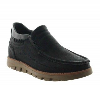 Lavarone Elevator Loafer Shoes Black +2.2''