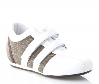Height Increasing Sports Shoes Lady - White - Leather / Fabric - +2.8'' / +7 CM - Gina - Mario Bertulli