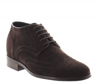 Height Increasing Derby Shoes Men - Brown - Nubuk - +2.8'' / +7 CM - Bocenago - Mario Bertulli