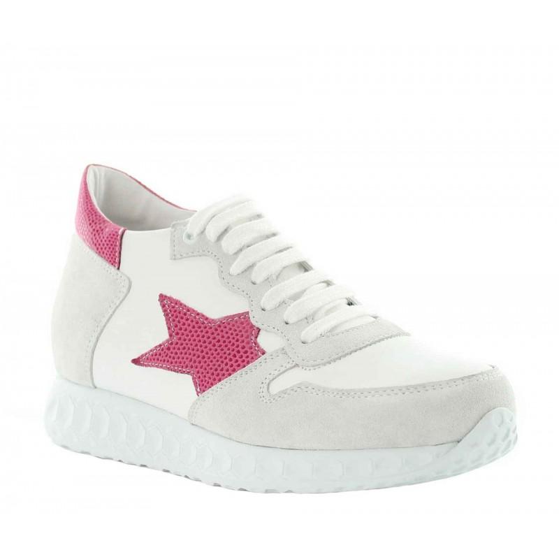"Aria height increasing sneaker white/pink +2.8"""