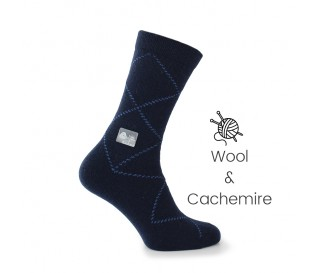 Blue wool/cashmere socks - Cashmere Socks from Mario Bertulli - specialist in height increasing shoes
