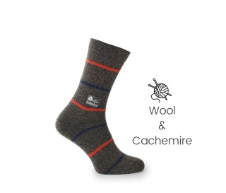 Brown wool/cachemire striped socks - Cashmere Socks from Mario Bertulli - specialist in height increasing shoes