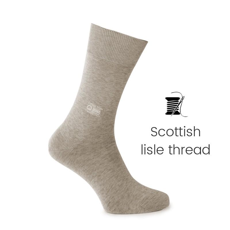 Beige Scottish lisle thread socks - Scottish Lisle Cotton Socks from Mario Bertulli - specialist in height increasing shoes