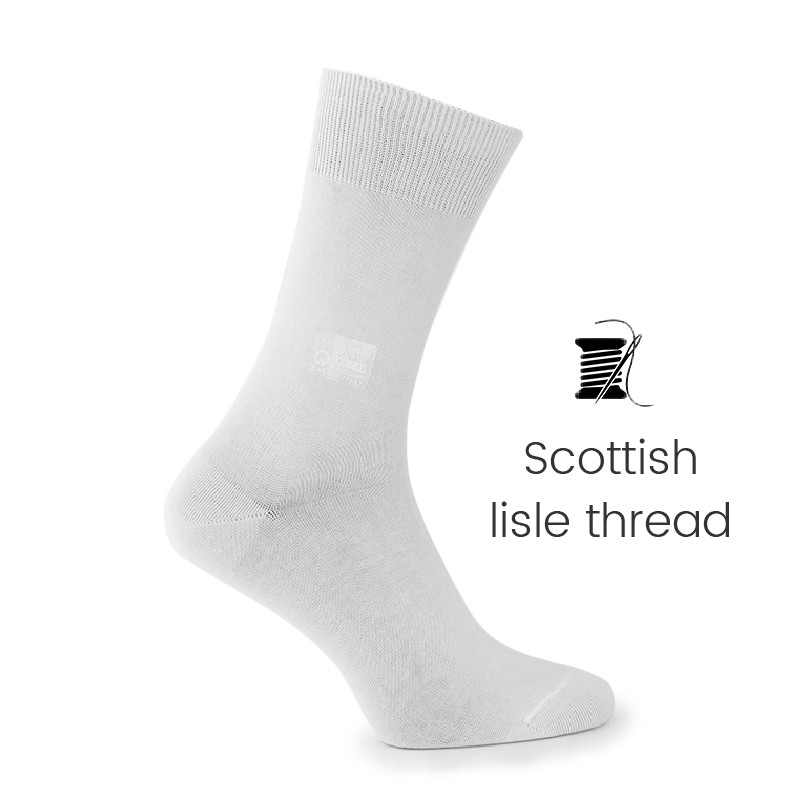 White Scottish lisle thread socks - Scottish Lisle Cotton Socks from Mario Bertulli - specialist in height increasing shoes