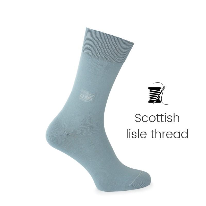 Blue sky Scottish lisle thread socks - Scottish Lisle Cotton Socks from Mario Bertulli - specialist in height increasing shoes