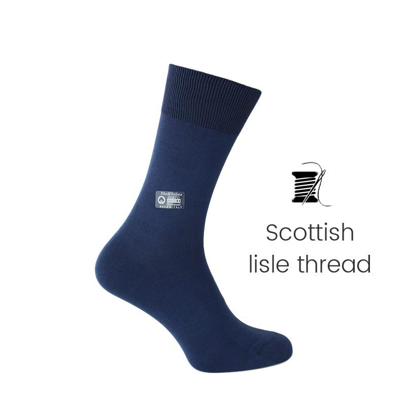 Blue sea Scottish lisle thread socks - Scottish Lisle Cotton Socks from Mario Bertulli - specialist in height increasing shoes