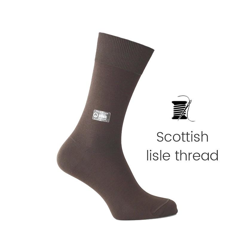 Brown Scottish lisle thread socks - Scottish Lisle Cotton Socks from Mario Bertulli - specialist in height increasing shoes