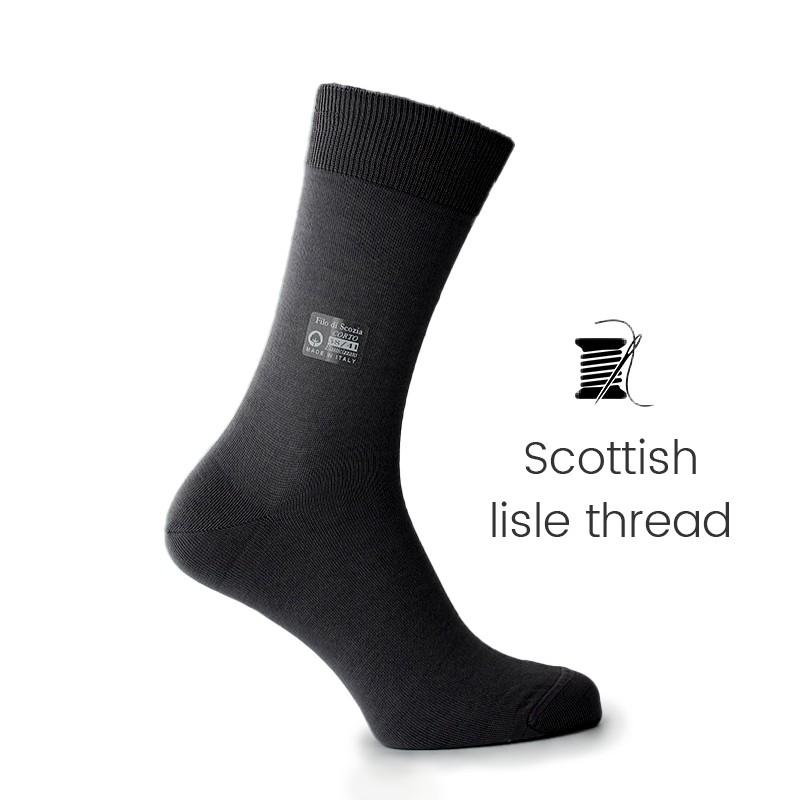 Black Scottish lisle thread socks - Scottish Lisle Cotton Socks from Mario Bertulli - specialist in height increasing shoes