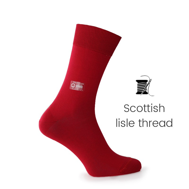 Red Scottish lisle thread socks - Scottish Lisle Cotton Socks from Mario Bertulli - specialist in height increasing shoes