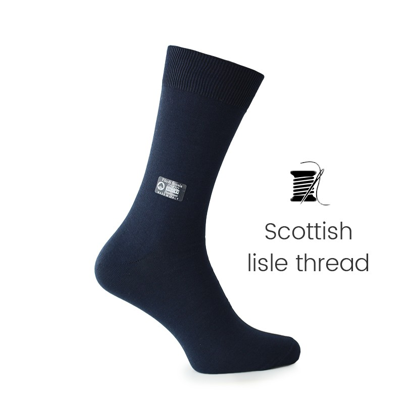 Dark blue Scottish lisle thread socks - Scottish Lisle Cotton Socks from Mario Bertulli - specialist in height increasing shoes