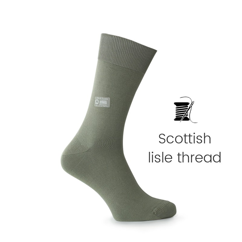 Green Scottish lisle thread socks - Scottish Lisle Cotton Socks from Mario Bertulli - specialist in height increasing shoes