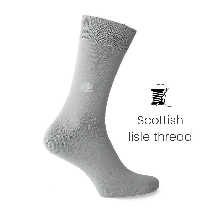 Grey Scottish lisle thread socks - Scottish Lisle Cotton Socks from Mario Bertulli - specialist in height increasing shoes
