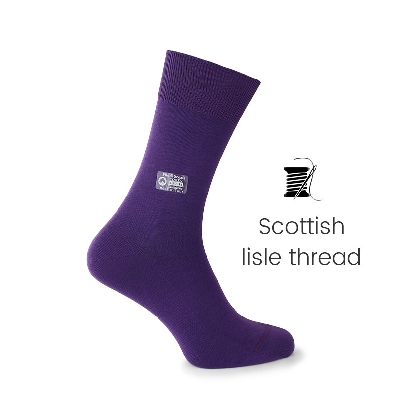 Purple Scottish lisle thread socks - Scottish Lisle Cotton Socks from Mario Bertulli - specialist in height increasing shoes