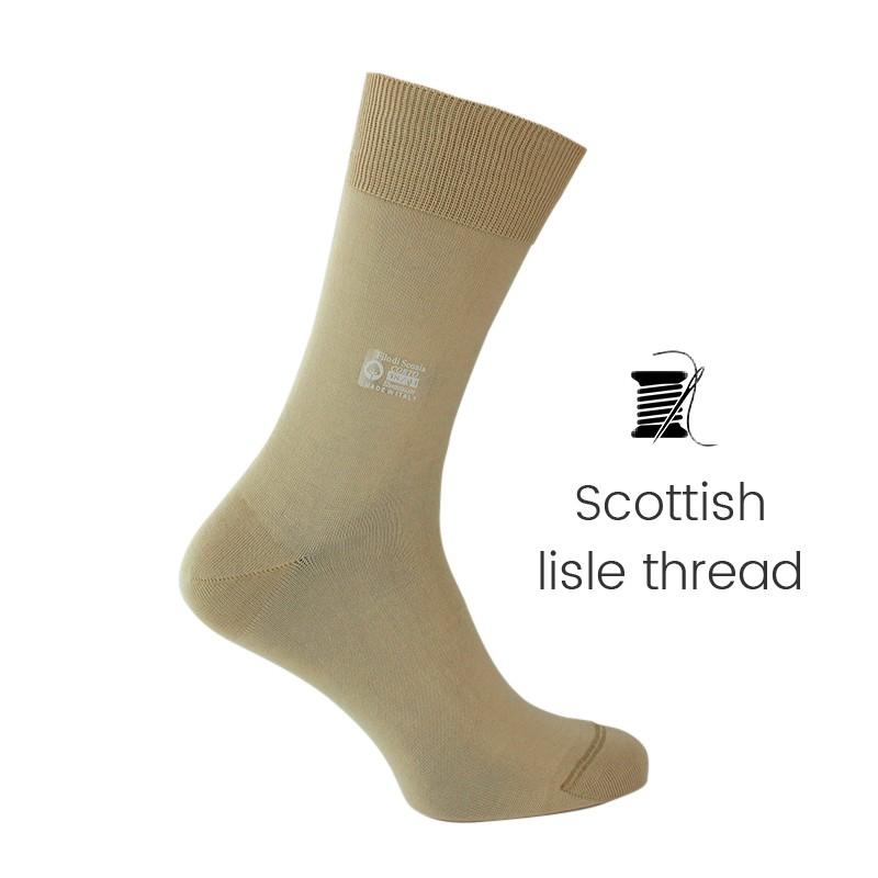 Beige/grey Scottish lisle thread socks - Scottish Lisle Cotton Socks from Mario Bertulli - specialist in height increasing shoes