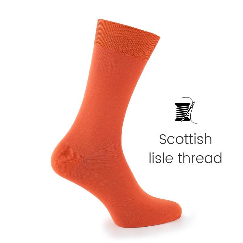 Orange Scottish lisle thread socks - Scottish Lisle Cotton Socks from Mario Bertulli - specialist in height increasing shoes