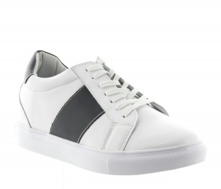 Height Increasing Sports Shoes Men - White - Leather - +2.2'' / +5,5 CM - Baiardo - Mario Bertulli
