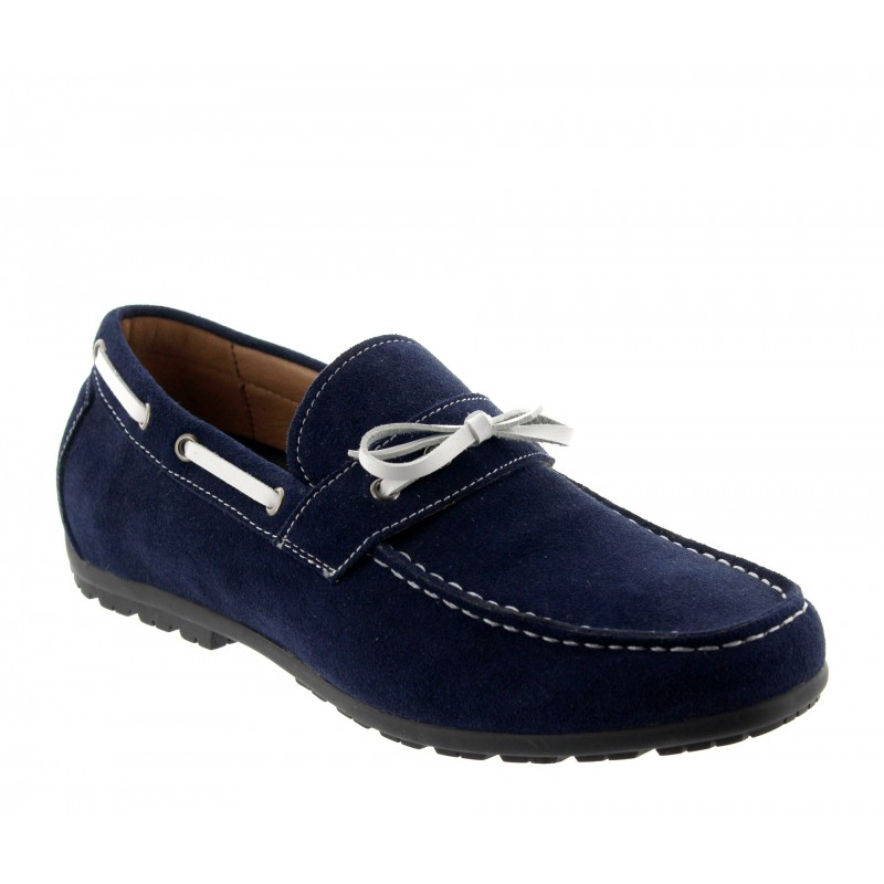 Height increasing loafers Men - Blue - Nubuk - +4CM - Portofino - Mario Bertulli