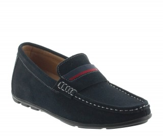 Height increasing loafers Men - Navy blue - Nubuk - +2.0'' / +5 CM - Sardegna - Mario Bertulli