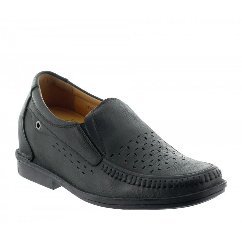 Height increasing loafers Men - Black - Leather - +2.8'' / +7 CM - Ragusa - Mario Bertulli