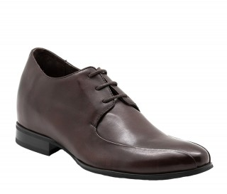 Buy Atessa Brown Men's Height Increasing Leather Derby Shoes Adds +2.8'' -  Exterior One Shoe