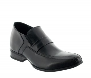 Genuri Elevator Loafer Shoes Black +2.8""