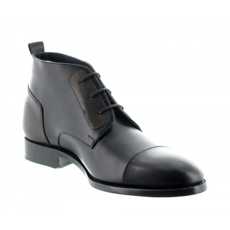 Height Increasing Boots Men - Black - Full grain calf leather - +2.4'' / +6 CM - Fabio - Mario Bertulli
