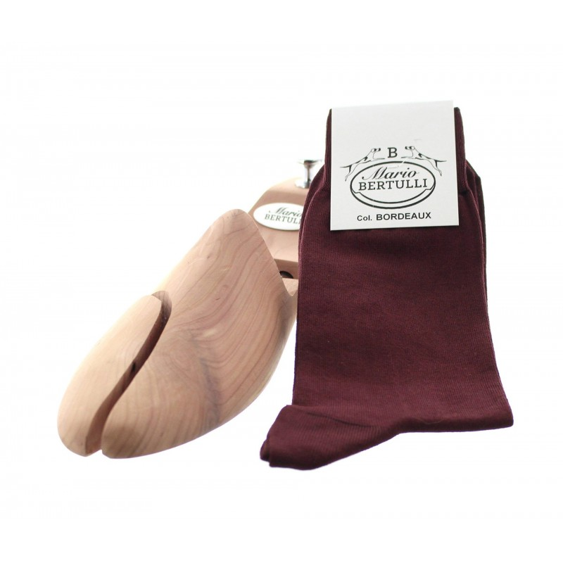 Bordeaux scottish lisle thread socks - Scottish Lisle Cotton Socks from Mario Bertulli - specialist in height increasing shoes