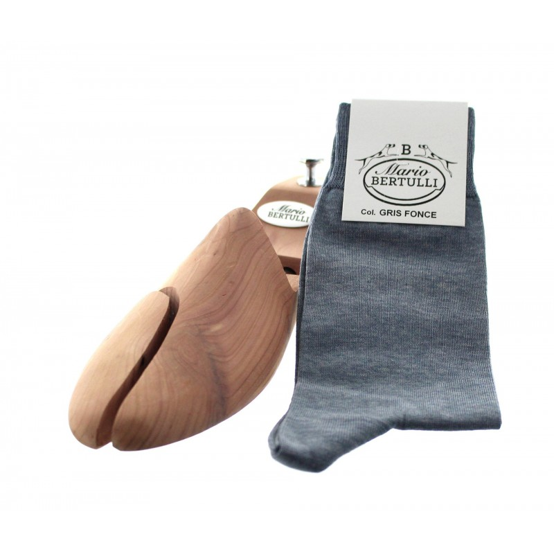 Dark grey Scottish lisle thread socks - Scottish Lisle Cotton Socks from Mario Bertulli - specialist in height increasing shoes