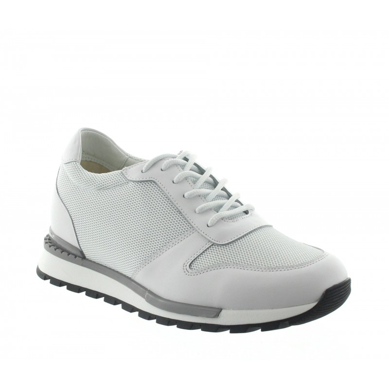 Height Increasing Sneakers Men - White - Leather/mesh - +2.8'' / +7 CM - Sirmione - Mario Bertulli