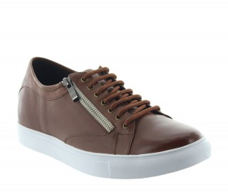 Height Increasing Sneakers Men - Brown - Leather - +2.4'' / +6 CM - Albori - Mario Bertulli