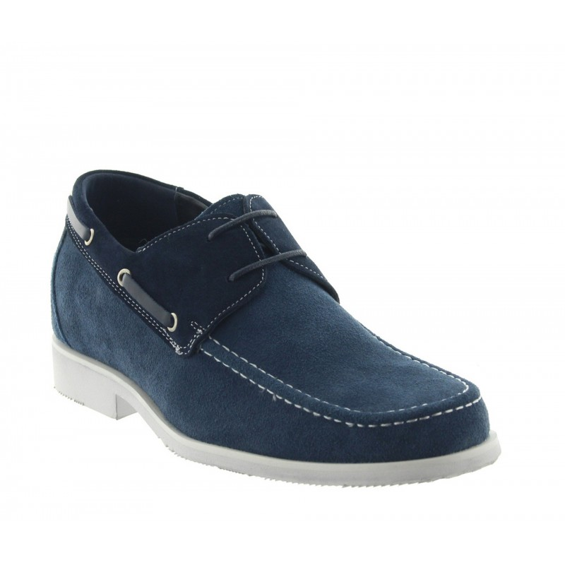 Height increasing loafers Men - Navy blue - Nubuk - +2.4'' / +6 CM - Bardolino - Mario Bertulli