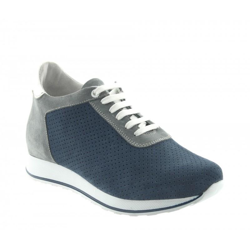 Height Increasing Sneakers Men - Blue - Daim - +2.8'' / +7 CM - Gabbro - Mario Bertulli