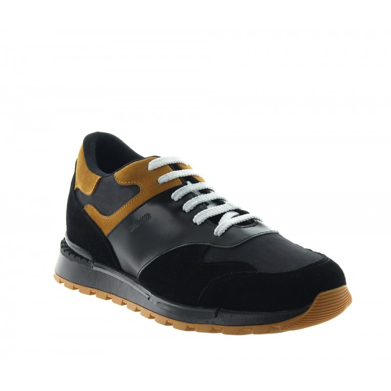 Height Increasing Sports Shoes Men - Black - Leather / Fabric - +2.6'' / +6,5 CM - Acquaro - Mario Bertulli